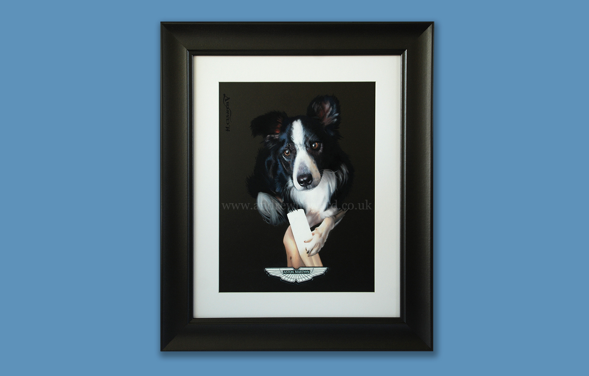 Andrew Howard Art - Aston Martin collie dog oil painting