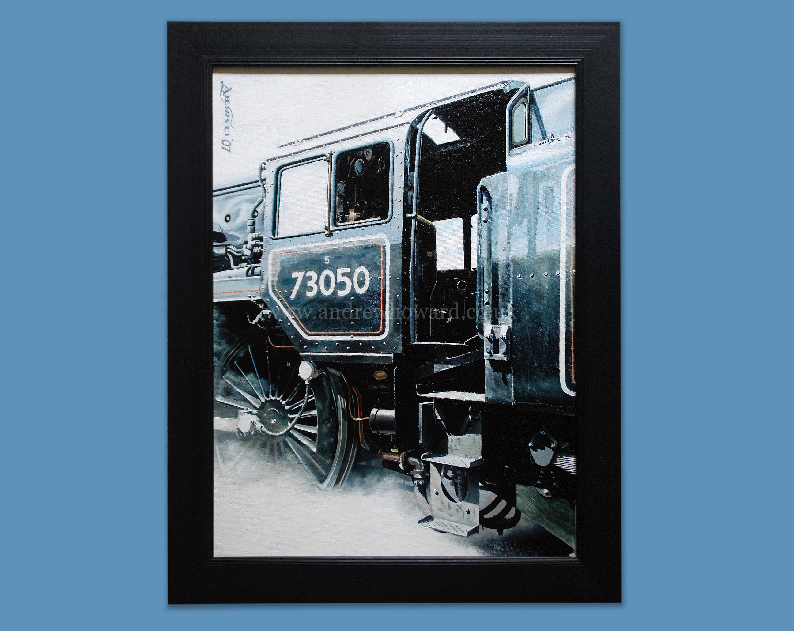 Andrew Howard Art - Cit of Peterborough steam locomotive oil painting