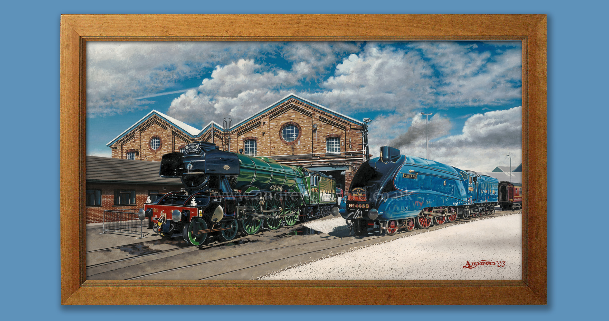 Andrew Howard Art - Mallard and Flying Scotsman oil painting